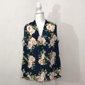 Rose + Olive Floral Navy Blue Sheer Blouse Size XL